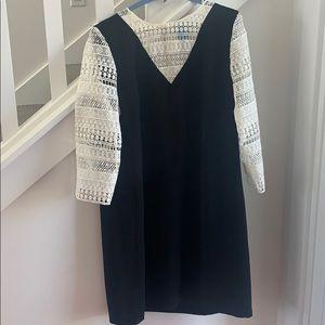CeCe black dress with white lace sz: 12